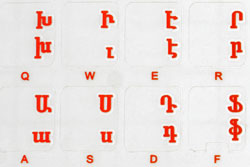 Armenian transparent keyboard stickers, Red letters