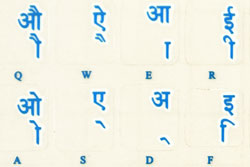 Hindi transparent keyboard stickers, Blue letters