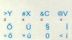 Hungarian transparent keyboard stickers, Blue letters