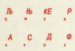Serbian transparent keyboard stickers, Red letters